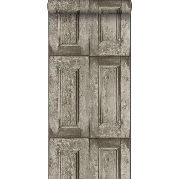 papel pintado puertas de paneles gris pardo