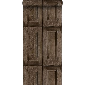 papel pintado puertas de paneles marrón oscuro