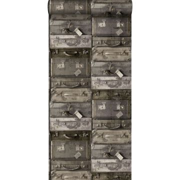 papel pintado maletas vintage marrón oscuro