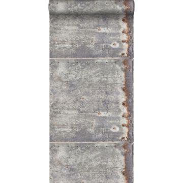 papel pintado placas de metal gris claro y marrón herrumbre