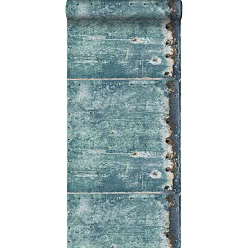 papel pintado placas de metal turquesa y marrón herrumbre