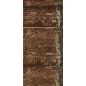 papel pintado placas de metal marrón herrumbre