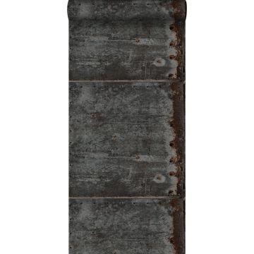 papel pintado placas de metal negro y marrón herrumbre