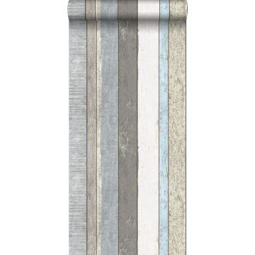 papel pintado tablas de madera gris y azul claro