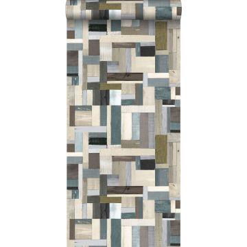 papel pintado madera de desecho marrón y verde oliva agrisado