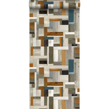 papel pintado madera de desecho gris, marrón y gris azulado