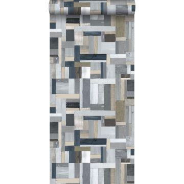 papel pintado madera de desecho gris