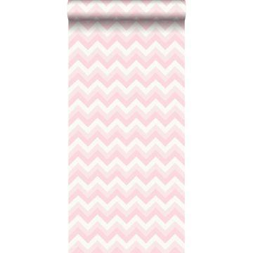 papel pintado zigzag chevrons rosa claro y blanco