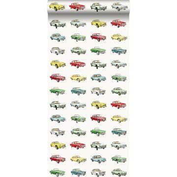 papel pintado coches antiguos vinatge rojo, amarillo y verde