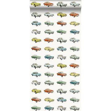 papel pintado coches antiguos vinatge naranja, amarillo ocre y verde