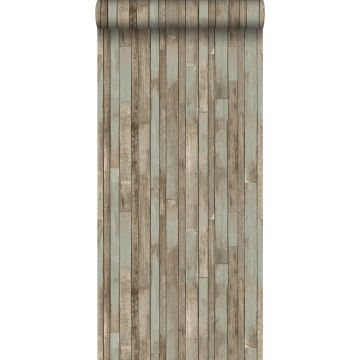 papel pintado madera de desecho azul agrisado
