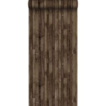 papel pintado madera de desecho marrón oscuro