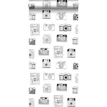papel pintado cámaras polaroid negro y blanco
