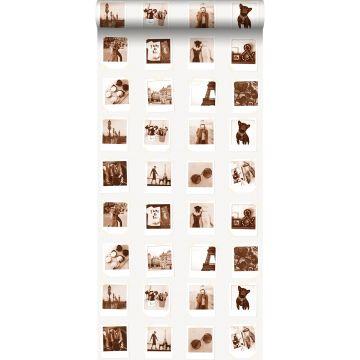 papel pintado fotografías polaroid marrón sepia y beige claro