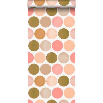 papel pintado grandes puntos lunares rosa melocotón