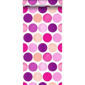 papel pintado grandes puntos lunares rosa caramelo