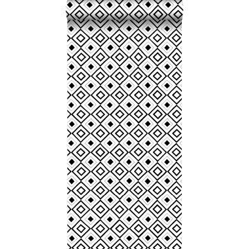 papel pintado rombo negro y blanco
