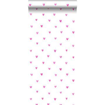 papel pintado corazones rosa caramelo