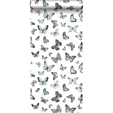 papel pintado mariposas revoloteando verde menta pastel claro y morado lila pastel claro