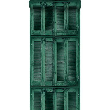 papel pintado persianas de madera curtida vintage verde esmeralda intenso