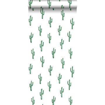 papel pintado pequeño cactus del desierto verde esmeralda intenso
