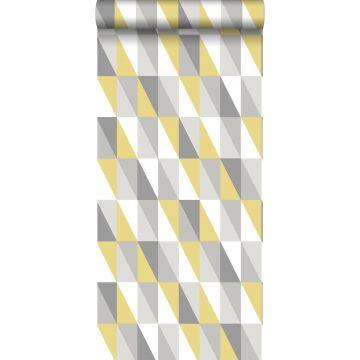 papel pintado triángulos gráficos amarillo ocre y gris
