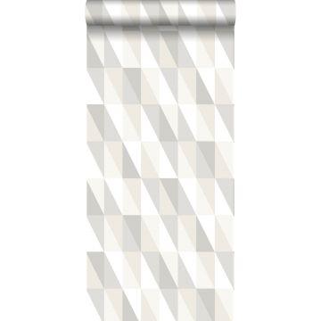 papel pintado triángulos gráficos plata, gris y beige
