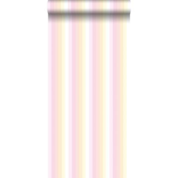 papel pintado rayas del arco iris rosa claro y beige