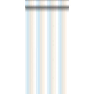 papel pintado rayas del arco iris azul claro y beige