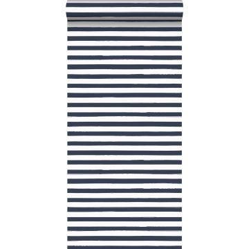 papel pintado rayas pintadas azul oscuro y blanco