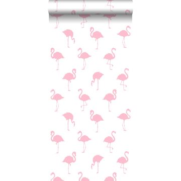papel pintado flamencos rosa y blanco