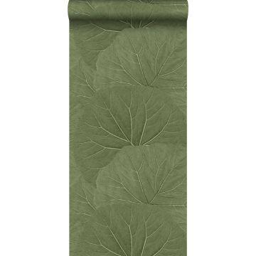papel pintado hojas grandes verde oliva agrisado