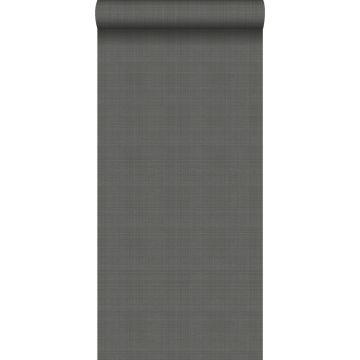 papel pintado liso efecto lino gris oscuro