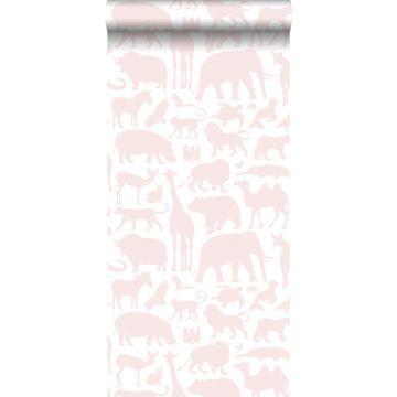 papel pintado animales rosa suave