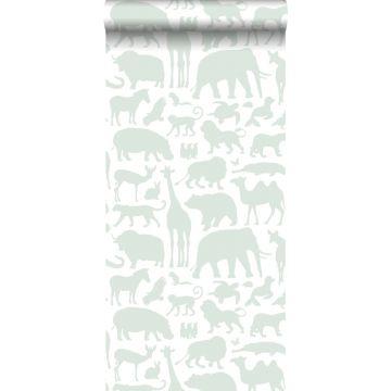 papel pintado animales menta verde
