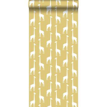 papel pintado jirafas amarillo ocre