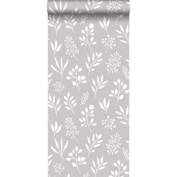 papel pintado diseño floral en estilo escandinavo gris cálido y blanco