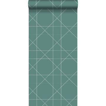 papel pintado líneas gráficas verde mar