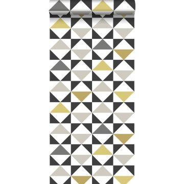 papel pintado triángulos gráficos blanco, negro, gris y amarillo ocre