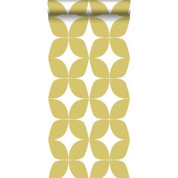papel pintado motivo gráfico amarillo ocre y blanco