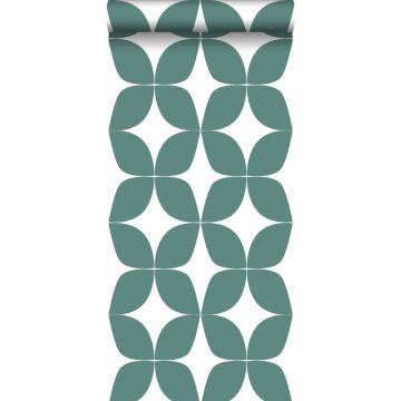 papel pintado motivo gráfico verde mar y blanco