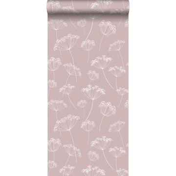 papel pintado umbelas rosa viejo y blanco
