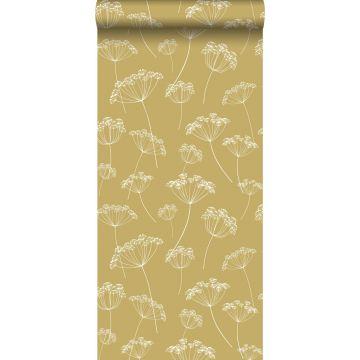 papel pintado umbelas amarillo ocre y blanco