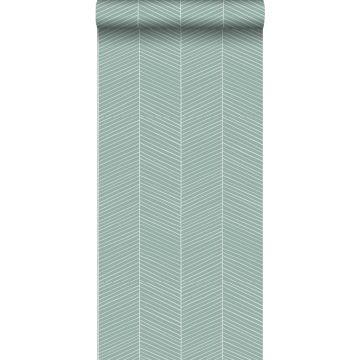 papel pintado chevron verde menta agrisado