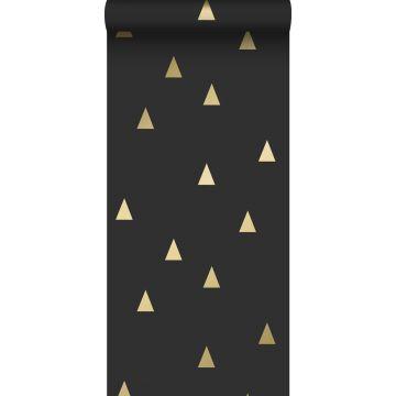 papel pintado triángulos gráficos negro y oro