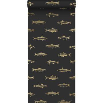 papel pintado dibujo a la pluma de peces negro y oro
