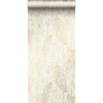 papel pintado hojas dibujadas blanco y oro