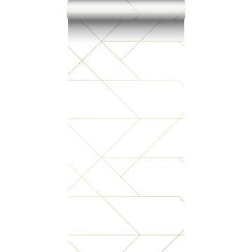 papel pintado líneas gráficas blanco y oro