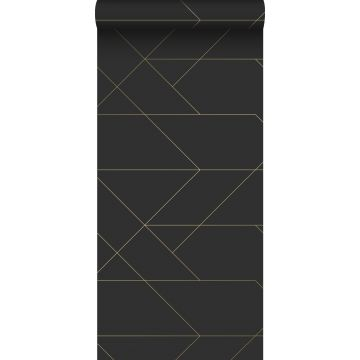 papel pintado líneas gráficas negro y oro