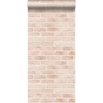 papel pintado pared de ladrillos rosa melocotón claro
